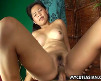 Hot Asian playgirl with pretty wazoo bonks her sex partner