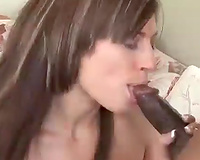 Happy cuckold watches his nice-looking girlfriend engulfing a hawt chap