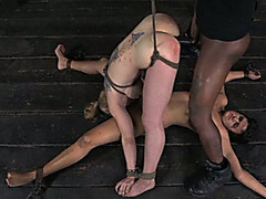 Black man bonks his slave's taut cunt from behind