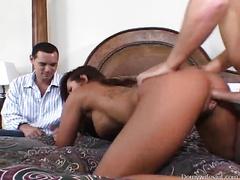 Voyeur episode with a tattooed brunette hair enjoying doggy style sex
