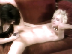 Horny golden-haired babe gives oral-sex and receives shagged from behind