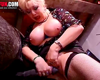 Mature wife with huge tits tries horse cock into her fat pussy