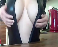 Teasing with my large natural lactating milk cans on cam