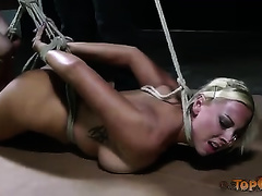 Bosomy blonde wench with wonderful body abused by her mistress