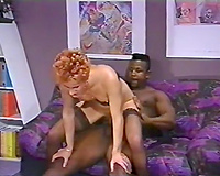 Hot interracial sex with older ginger strumpet and dark dude