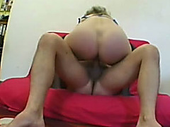Chubby older blond shows her cock-riding skills to a guy