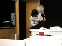 Pale bodied office cheating wife receives her hairy slit licked and drilled