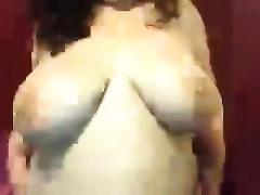 Cute white big beautiful woman dark brown housewife stripteases on webcam