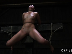 Horny servitude master stimulates his slave's vagina with vibrator