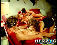 Retro foursome sex episode with 2 couples banging in a living room