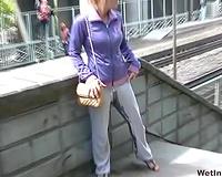 Russian dilettante slutty wife in yoga panties filmed during pissing in public