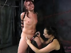 Insanely lascivious female-dominator puts clothespins on her slave's love muffins
