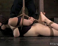 Bounded brunette whore with great rack is punished by her mentor