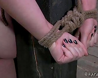 Chubby serf white women is cruelly spanked and bounded by the pillar