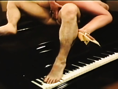 Sassy and barefaced nympho receives drilled on the piano