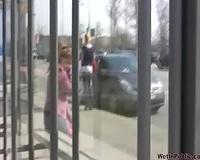 Amateur Russian college girl in purple leggings pees in public
