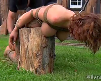 Poor serf black cock sluts with great body is tortured outdoors
