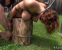 Poor serf black cock sluts with great body is tortured outdoors
