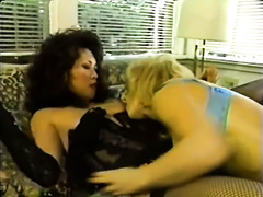 Two lesbo paramours in fishnet stockings and underware