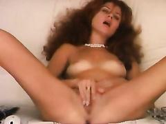 My Russian girlfriend having vintage haircut masturbates vagina