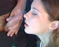 Cute legal age teenager honey served her face for a huge facial cumshot