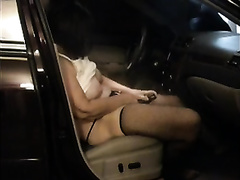 My sassy aged wife masturbates her cookie in the car