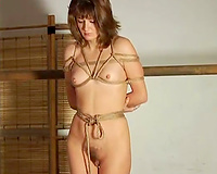Tied up slim babe is getting suspended in the air