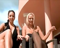 Gorgeous sassy bitches on the balcony let me film 'em