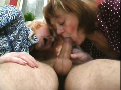 Two naughty matures in nylons have a fun fellatio play wit concupiscent guy