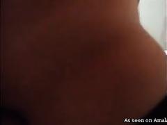 Korean bitch in tights masturbates and copulates lustful man