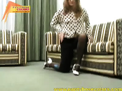 Nylon fetish solo with a lewd dilettante white wife rubbing her pussy