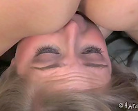 Bounded golden-haired housewife cannot move and acquires her snatch toyed