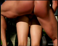 Dirty wench with elastic butt gap fucking outdoors