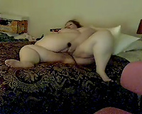 My chubby redhead girlfriend toys her hairless cum-hole in the bedroom