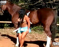 Wife sucks horse's cock and masturbates the pussy in the same time