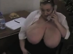 Hot wet breasty white women plays role of a horny secretary