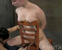 Short haired golden-haired beauty with great body is bounded by her excited domme