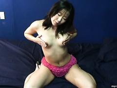 Hot Korean girl in hawt pink underware undresses and masturbates