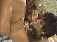 Trashy whores drink plump face hole cumshot after giving double oral-sex