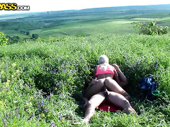 Blonde skank enjoys engulfing and riding a dick in the field