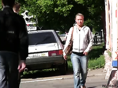 Public pissing outdoor solo clip with dissolute wench Irina