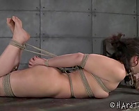 Naughty dark brown honey with rope in her throat kisses her mistress