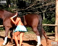Amateur wife tries dildo and horse cock in the same time