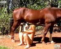 Blonde wife wants this tasty horse dick right in her shaved cherry