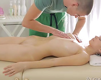Nastya gives head to masseur and lets him play with her crotch
