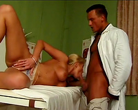 Alluring golden-haired chick bonks an desirous doctor on his table