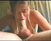 Submissive white white girlfriend deepthroats my cock