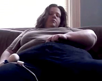 Dirty SSBBW white housewife masturbating with a Hitachi massager