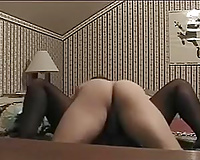 My GF looks hawt in her silky hose and this babe can't live without missionary position