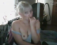 Sweet and tiny aged Russian blondie undresses on cam